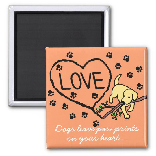 Yellow Labrador Sand Letters Cartoon Magnet