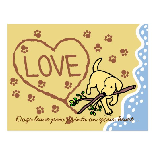 Yellow Labrador Sand Letters Cartoon Postcard