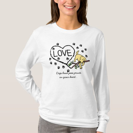 Yellow Labrador Sand Letters Cartoon T-Shirt