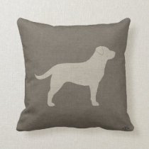 Yellow Labrador Silhouette | Faux Linen Style Throw Pillow