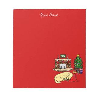 Yellow Labrador Sleeping Christmas Cartoon Note Pad
