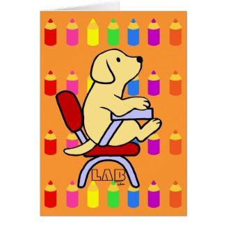 Yellow Labrador Student 1 Cartoon Pencils card