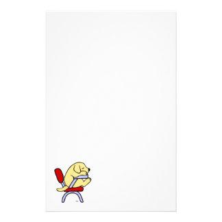 Yellow Labrador Student 2 Cartoon Stationery Paper
