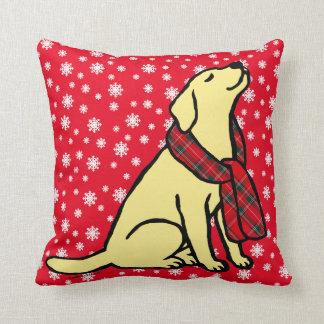 Yellow Labrador Tartan Scarf 2 Pillow