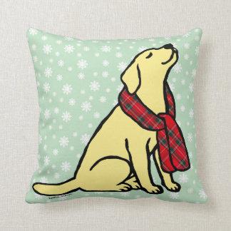 Yellow Labrador Tartan Scarf 2 Throw Pillow