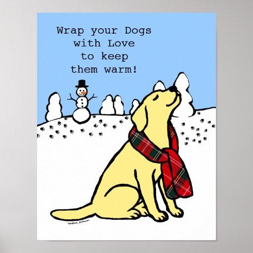 Yellow Labrador Tartan Scarf Poster