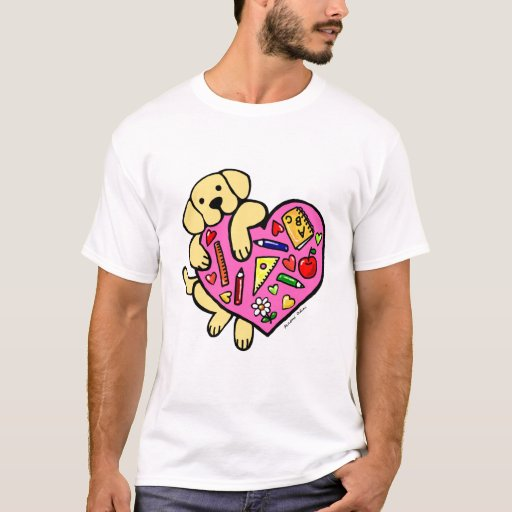 Yellow Labrador & Teacher's Heart Cartoon T-Shirt