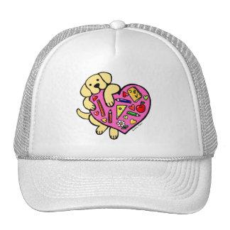 Yellow Labrador & Teacher's Heart Cartoon Trucker Hat