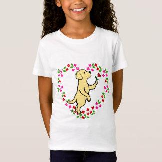 Yellow Labrador Tiny Heart Flower T-Shirt