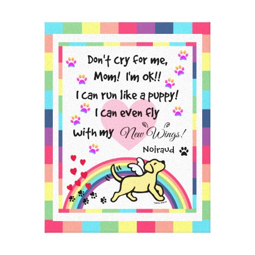 Yellow Labrador Trotting Rainbow Bridge art Canvas Print