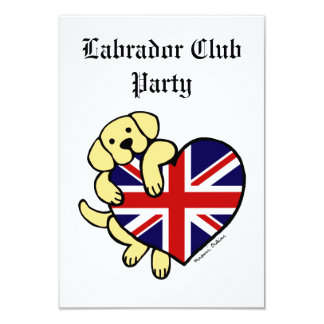 Yellow Labrador & UK Flag Heart 2 Cartoon Card