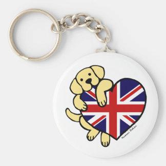 Yellow Labrador & UK Flag Heart 2 Cartoon Basic Round Button Keychain