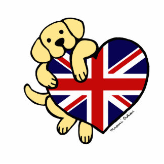 Yellow Labrador & UK Flag Heart 2 Cartoon Photo Sculpture Magnet
