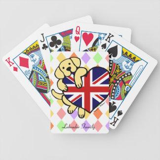 Yellow Labrador & UK Flag Heart 2 Cartoon Bicycle Playing Cards