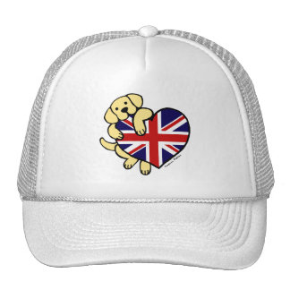 Yellow Labrador & UK Flag Heart 2 Cartoon Trucker Hat