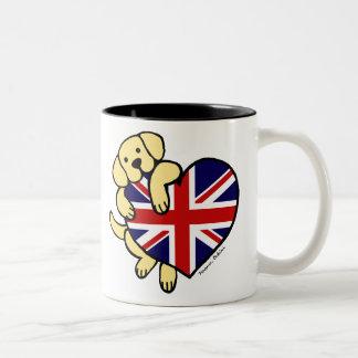 Yellow Labrador & UK Flag Heart 2 Cartoon Two-Tone Coffee Mug
