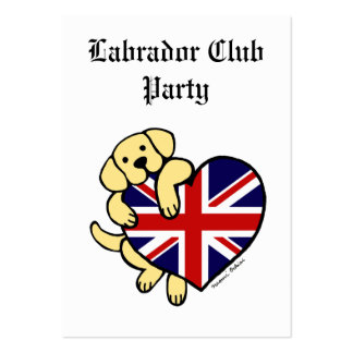 Yellow Labrador & UK Flag Heart Cartoon Large Business Cards (Pack Of 100)