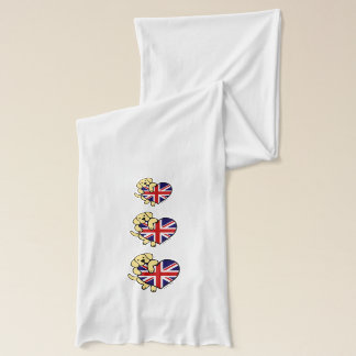 Yellow Labrador & UK Flag Heart Cartoon Scarf