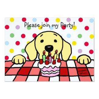 Yellow Labrador watching you Birthday 5x7 Paper Invitation Card