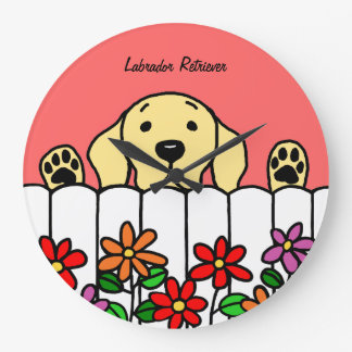 Yellow Labrador Watching You Flowers Large Clock