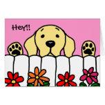 Yellow Labrador watching you Greeting Card