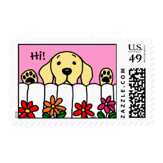 Yellow Labrador watching you Postage Stamp