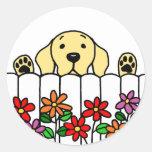 Yellow Labrador watching you Round Sticker
