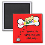 Yellow Labrador with a full belly Cartoon Refrigerator Magnet