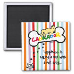 Yellow Labrador with a full belly Cartoon Fridge Magnets