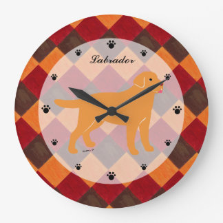 Yellow Labrador with a Little Tongue Large Clock