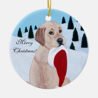 Yellow Labrador with Santa Hat Snowflake Ceramic Ornament
