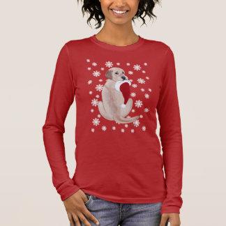 Yellow Labrador  with Santa Hat Snowflake Long Sleeve T-Shirt