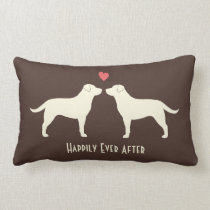 Yellow Labradors - Wedding Dogs with Text Lumbar Pillow