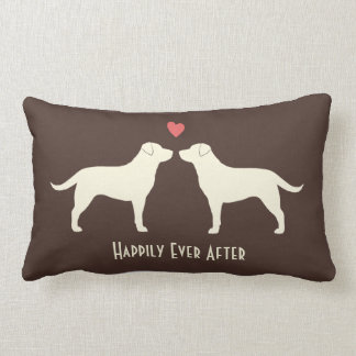 Yellow Labradors - Wedding Dogs with Text Pillow