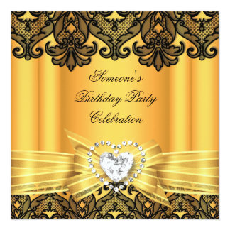 Yellow Lace Bow Diamonds Images Birthday Party Card