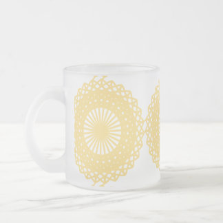 Yellow Lace Design Pattern. Frosted Glass Coffee Mug