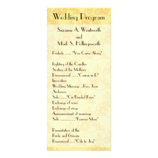 Yellow Lace Wedding Programs, Sunny Rack Card