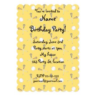 "Yellow lacrosse pattern 5"" x 7"" invitation card"