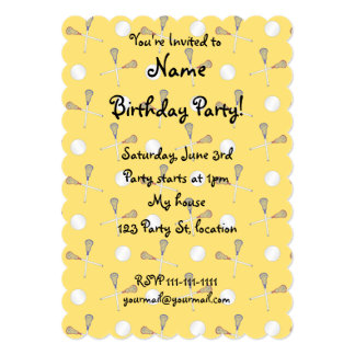 Yellow lacrosse pattern 5x7 paper invitation card