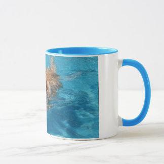 Yellow ladbrador swimming mug