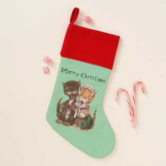 Yellow Lady Cat Giving Gift of Rats Male Cat Christmas Stocking