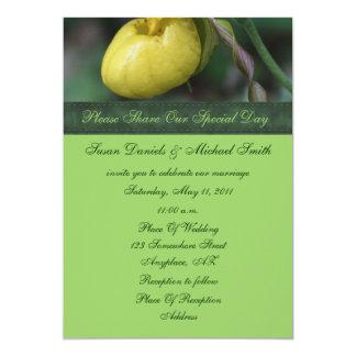 "Yellow Lady Slipper Flower Wedding Invitation 5"" X 7"" Invitation Card"