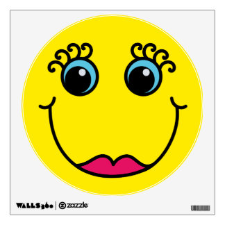 Yellow Lady Smiley Face Wall Decal