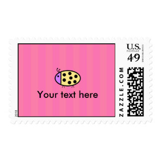 Yellow ladybug with pink stripes postage stamp