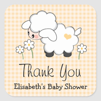 Yellow Lamb Baby Shower Labels Stickers