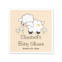 Yellow Lamb Gender Neutral Baby Shower Paper Napkin