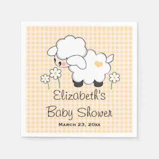 Yellow Lamb Gender Neutral Baby Shower Paper Napkin