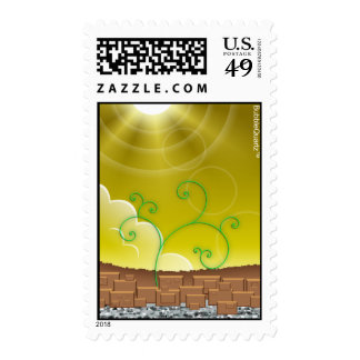 Yellow landscape postage stamps