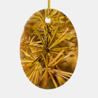 Yellow larch needles (Larix decidua) Ceramic Ornament