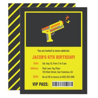Yellow Laser Tag Gun Birthday Party Invitations